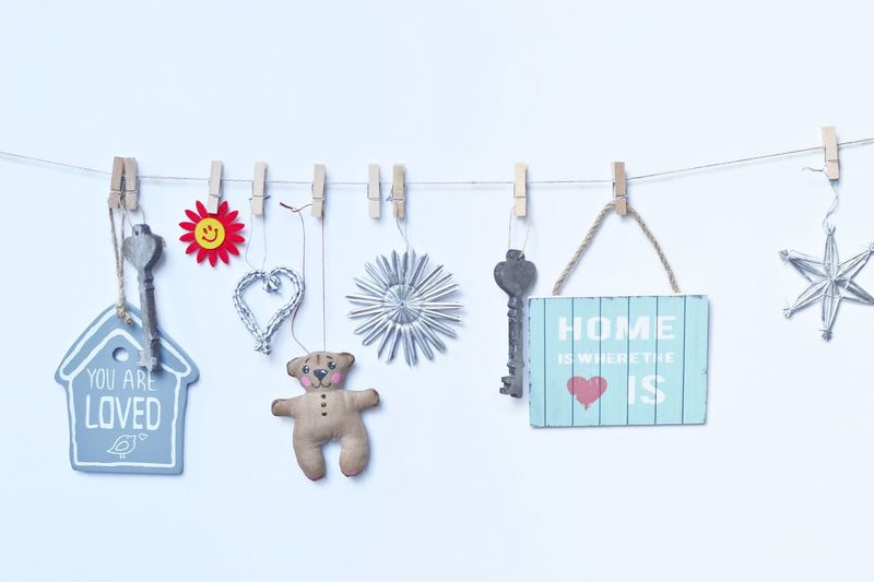 Clip Figurines  Flower Hanging Home Is Horizon Over Water Label Love No People On The Wall Plates Signboards Signs Smartphonephotography White Background
