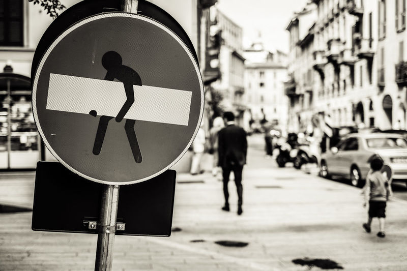 Milano - Corso Garibaldi ArtWork Clet Abraham Corso Garibaldi EyeEm Best Shots EyeEmNewHere Fujifilm XF 35 1.4 Milan Milano Sign Black And White Blackandwhite Blackandwhite Photography Bnw Bnw_collection Divieto Fujifilm Fujifilm X-e1 Fujifilm_xseries Monochrome monochrome photography Pedestrian Pedoni Road Sign Segnaletica Visual Creativity