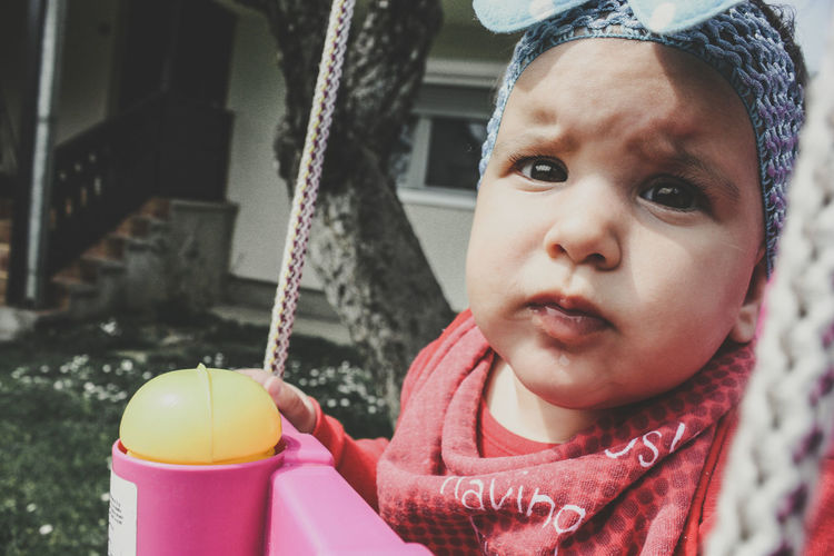 Baby Babygirl Babyhood Child Childhood Cute Females Front View Girls Headshot Innocence Lifestyles Looking At Camera One Person Portrait Real People Toddler  Warm Clothing Young