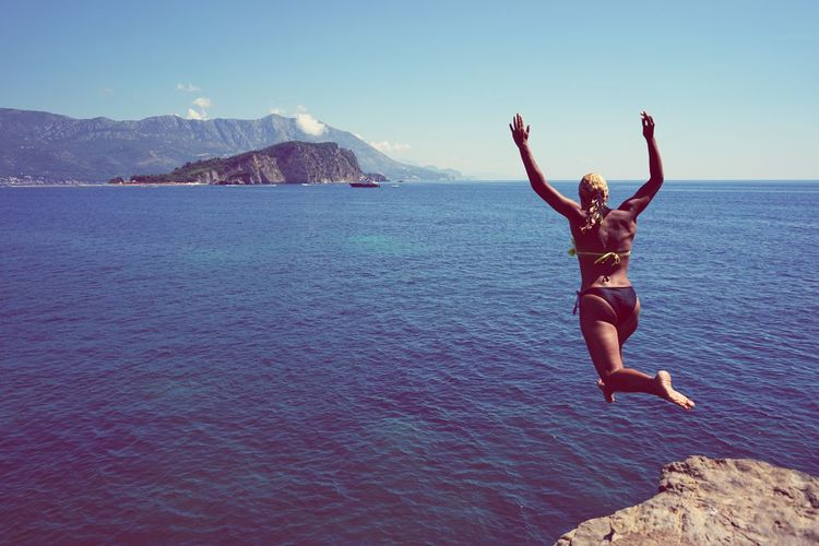 Let's enjoy this summer till the end This was taken from beautiful cape Mogren near Old Town Budva in Montenegro This rock is prime cliff diving location in Montenegro and one of the best on Adriatic. Diving Summer Summetime Rocky Beach Hello World Enjoying Life Sea Budva Montenegro Cliff Riviera