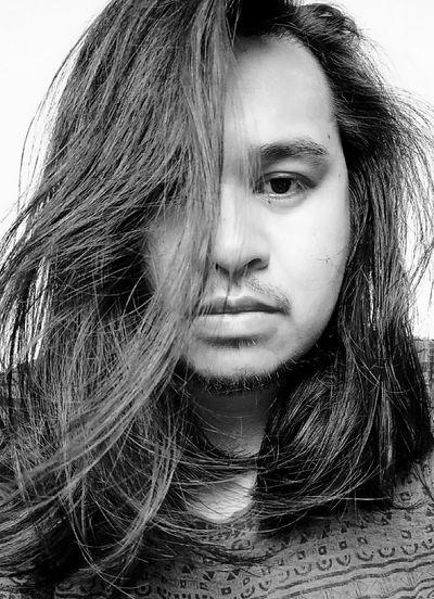 Asian Man Long Haired Man Portrait Beauty Looking At Camera Long Hair Front View Headshot Close-up