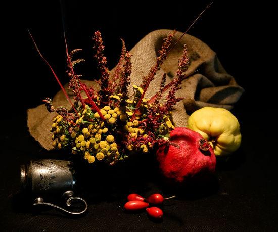 Lines Meadow Flowers Blossom Classi Still Life Dark Background Flower Fruit Pomegranate Quince Silver  Still Life Vinbtage Fork