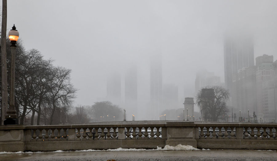 View of bridge in city during winter