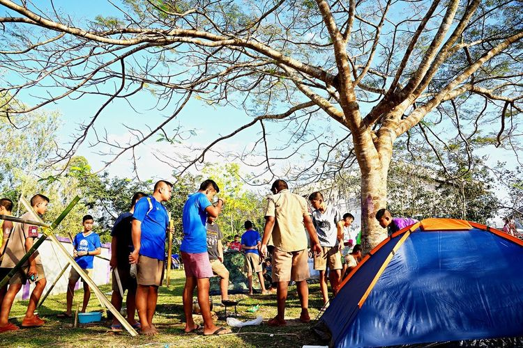 Camping scout Scoutcamp  กิจกรรมเข้าค่ายพักแรม ลูกเสือ Thai Scout Group Of People Real People Tree Plant Men Women Nature Day Leisure Activity Lifestyles