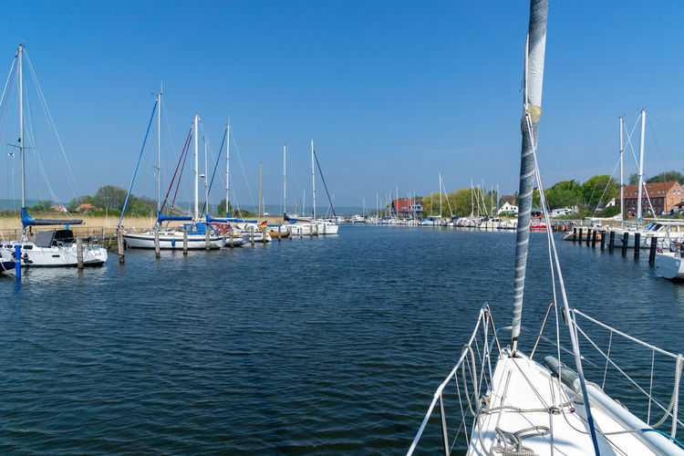 harbor entrance in the village Seedorf on Rügen island, germany Nautical Vessel Mode Of Transportation Transportation Moored Nature Harbor Day Clear Sky Waterfront No People Sailboat Sailing Marina Blue Sunlight Water Outdoors Sky Yachting Pole Mast Sea Yacht Luxury Harbor Rügen Seedorf