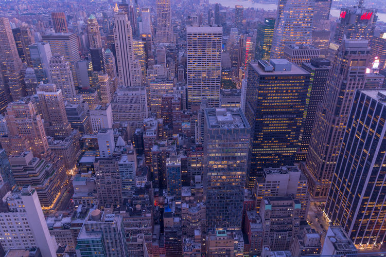Aerial View Of Cityscape At Dusk