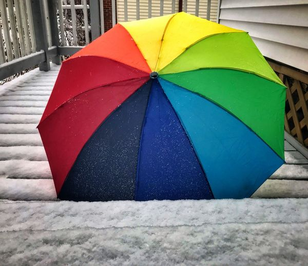 Fresh Snow Umbrella Rainbow Umbrella Multi Colored Day Outdoors Close-up No People