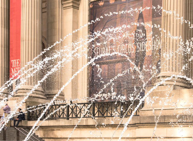 Metropolitan Museum of Art #cityscape #fountain #impression #impressionistphotography #MET #metropolitanmuseumofart #museum #NewYorkmuseums #NYC #seurat Architecture Built Structure City Cityscape Day Motion Outdoors Spraying Water