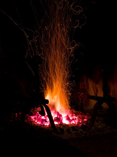Heat - Temperature Fire Burning Flame Fire - Natural Phenomenon Night Motion Glowing Firewood Bonfire Nature Dark Wood Log No People Campfire Orange Color