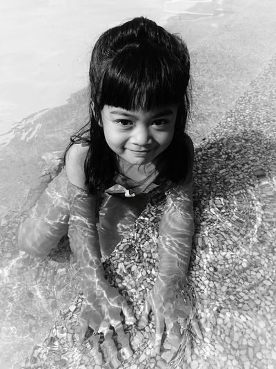 My little Portrait mermaid Child Looking At Camera Water One Girl Only Wet Girls Children Only Fun Smiling Front View One Person Childhood Swimming Pool People Swimming Happiness Motion Cheerful Outdoors