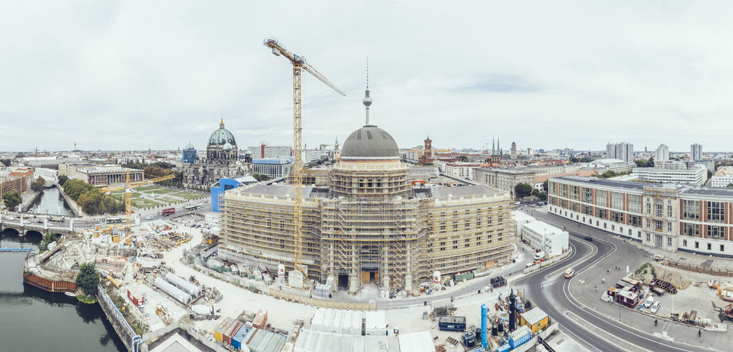 View of the Humboldt Forum while being built Humboldt Forum Humboldtforum Berlin Construction Site Berlin Palace In Winter Berliner Schloss Museum Berliner Stadtschloss Building Brick Wall Aerial View Day City Cityscape