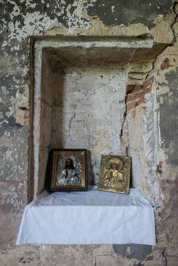 Abandoned Ancient Architecture Bad Condition Built Structure Church Close-up Damaged Day History Icon Indoors  No People Old Old Ruin Place Of Worship Religion Sculpture The Past