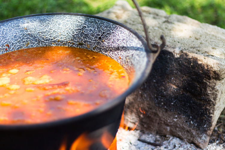 Cooking gulyas soup Camping Gulyás Food Food And Drink Goulash Kitchen Utensil No People Outdoor Cooking Outdoor Food