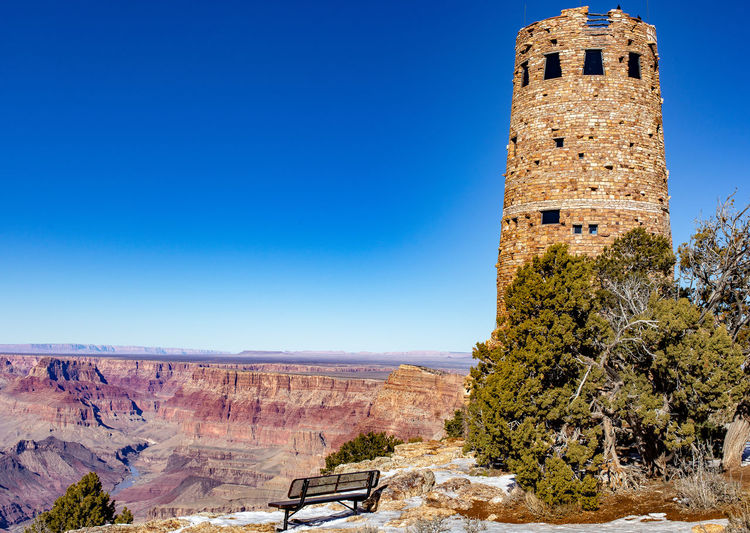 A bench with a view Desert Grand Canyon Scenic View Blue Clear Sky Sky My Best Photo