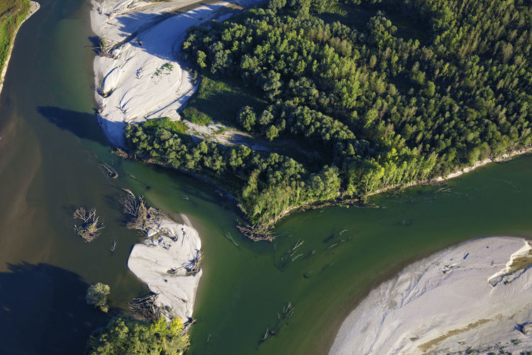 Aerial photo of erosion on the drava river