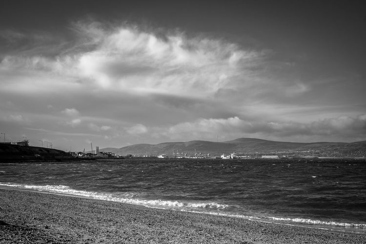 Belfast Lough. Winters Day Holywood County Down Northern Ireland The Titanic Sailed From Here. Sea Horizon Over Water Shore Calm Tide Seascape Coastline Pebble Beach