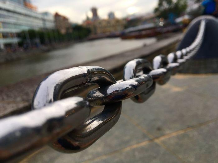 Chain railing along Clarke Quay in Singapore. Singapore River Singapore River Tourism Tourist Attraction  Chain Chainlink Fence Chain Links Railings