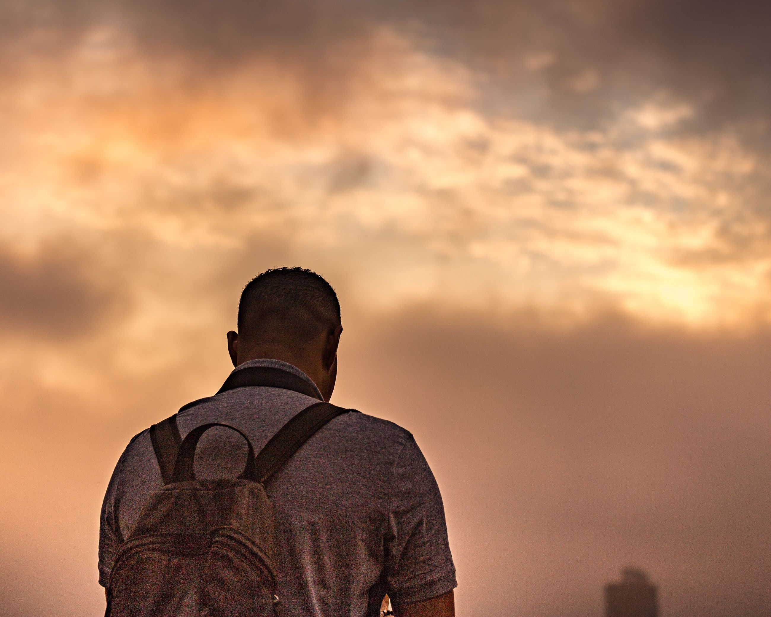 rear view, sunset, sky, men, one person, nature, standing, real people, outdoors, one man only, beauty in nature, day, people