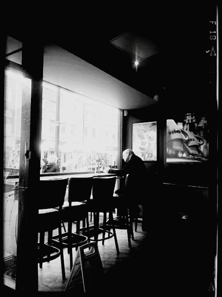 One Person Indoors  Table Chair Sitting Alone Black And White Cafecoffeeday SOUTHAMPTON CITY Uk
