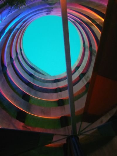 City Multi Colored Curve Spiral Staircase Concentric Refraction Architecture