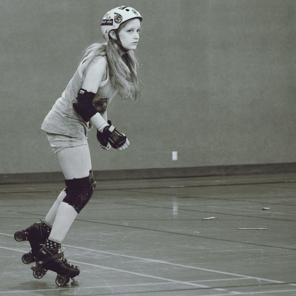 Young Woman Roller Derby Roller Girls Sport Action Shot  Young Women Beautiful Girl Making Pictures Black And White