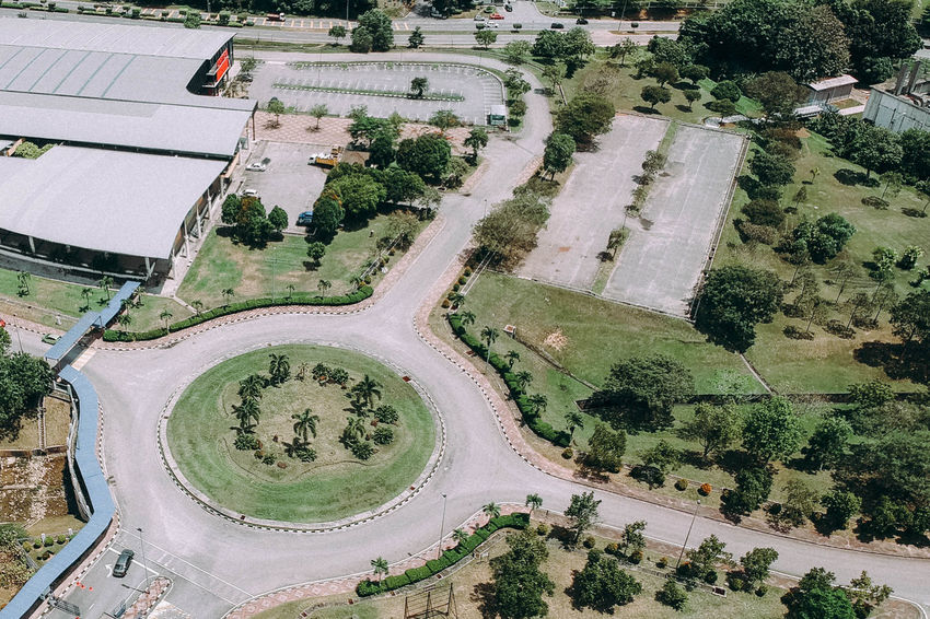 Aerial View High Angle View Day Agriculture Outdoors Tree No People Nature Uturns Roundabout Art Roundabout Roadsidephotography