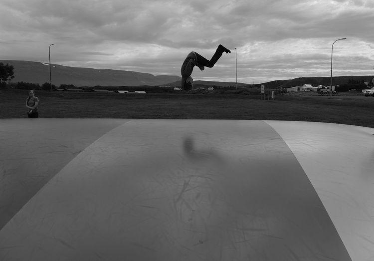 Black & White Boys Cloud - Sky Jumping Outdoors Reverse Skateboard Park