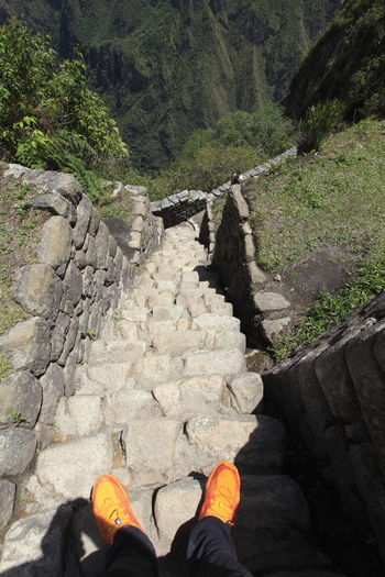 Shoe Outdoors Steps Macchu Picchu Stepping Down Steep Descent Steep Stairs Ancient Steps Inca Trail