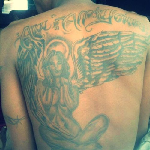 ° →Black as the devil,← ▶Hot as hell,◀ •Pure as an angel,● ■Sweet as love. ■ Tattoo TattooLove Ink Inked Kidink Instagramers ♣♣♧♧