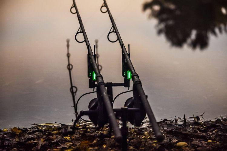 Fishing rods on lakeshore at sunset