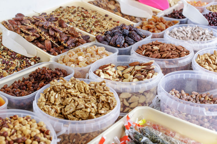 Different kinds of nuts at street Market in Spain. Market Nuts Seed Seeds Snack Vegetarian Food Almond Almonds Dried Dry Food Fruit Hazelnuts Healthy Healthy Eating Healthyfood Ingredient Marketplace Mix Mixed Nut Nutrition Peanut Pistachio Walnut