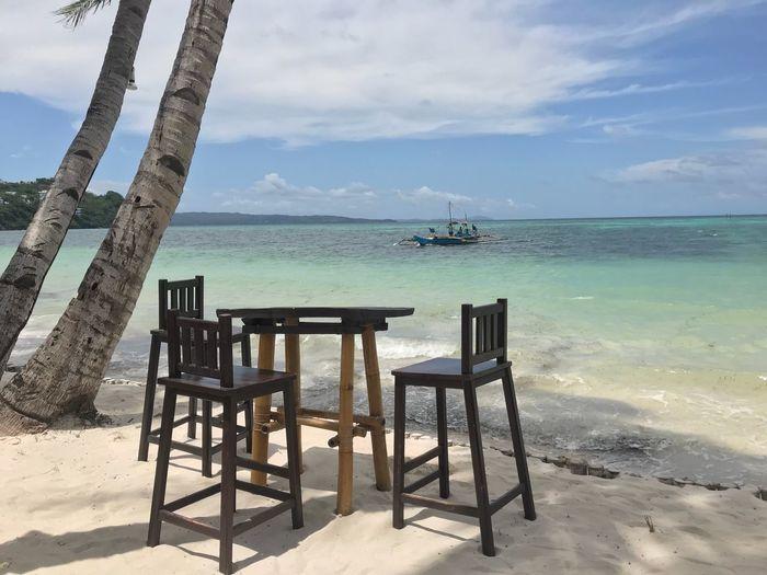 Sea Water Beach Sky Land Scenics - Nature Beauty In Nature Nature Cloud - Sky Horizon Over Water Chair No People Sand Seat Horizon