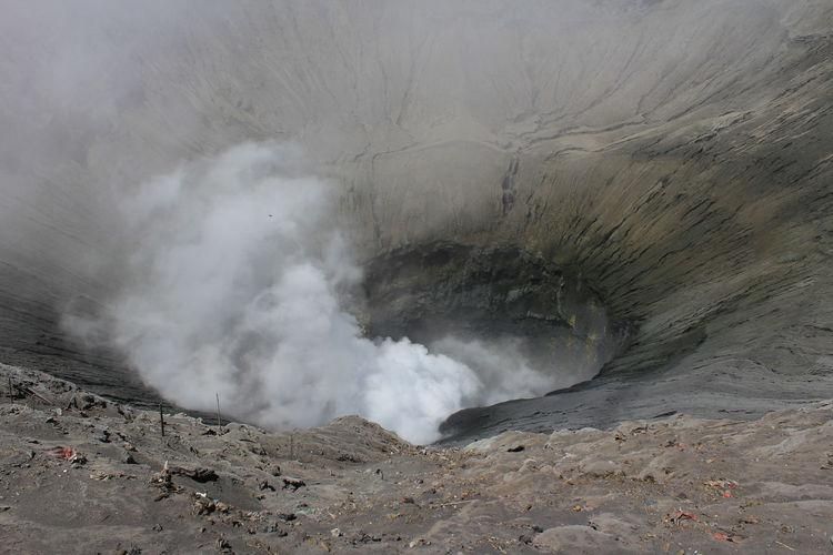 High angle view of smoke emitting from volcano