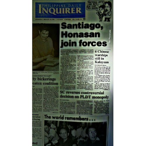 Before and now | 18 years ago, same issue over disputed Spratlys Islands. Philippine Daily Inquirer, 22 February 1995 Throwback Pdi Newspaper Philippinedailyinquirer themanansala photography tbt headlines spratlysdispute china philippines instapic instagram instagraphy hashtag igersmanila igers