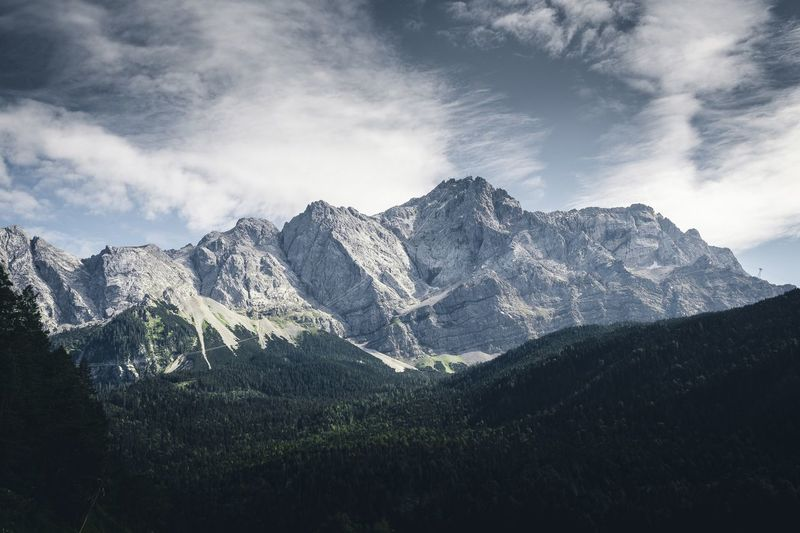 Green Color Green Germany Zugspitze Top Of Germany  Top Of The Mountains Cloud - Sky Sky Mountain Beauty In Nature Tree Plant Mountain Range Nature Scenics - Nature Day No People Low Angle View Outdoors Landscape Cold Temperature