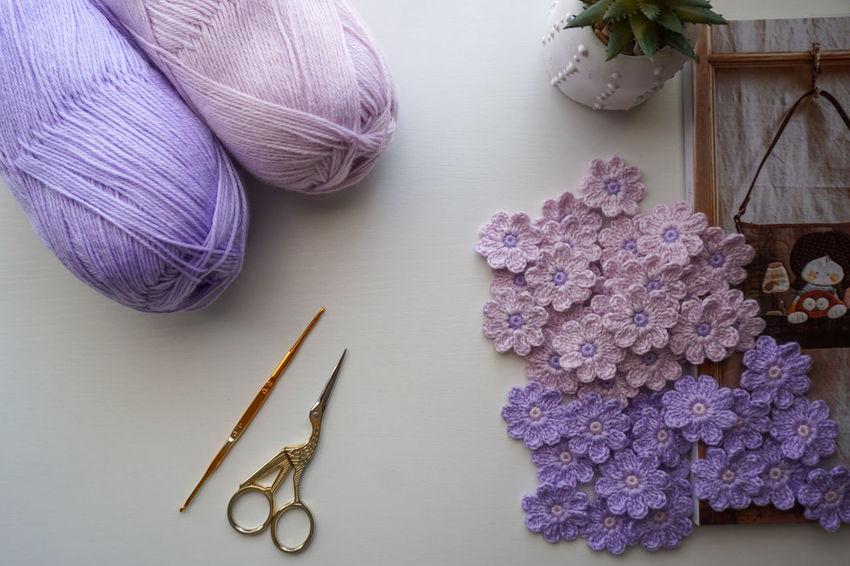 Crochet Flowers Yarn Purple Flower Scissors Catus Purple Handmade Crafts Hobby Knitting Needle Studio Shot Homemade Multi Colored Skill  Ball Of Wool Textile Knitting Crochet Sewing Needle Sewing Item Thread