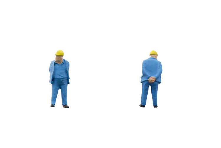 Miniature Worker People White Background Toy Engineer Figure Concept Construction Human Little Mini Space Figurine  person Closeup Male Model Macro Small Job Employee Isolated Build Work Copyspace Clipping Path