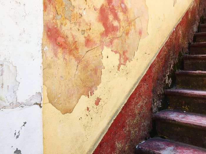 Old Stairs Vintage Stairs Damaged Stairs Damaged And Wrecked Grece Damaged Architecture Architecture Architectural Detail Wall Yellow Red
