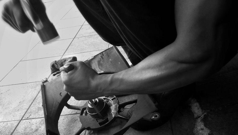 Strong man at workshop Workshop Workshoplife Repair Cars Workshop EyeEm Selects Black And White Photography