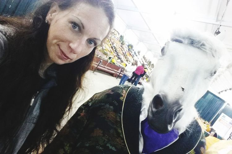 The things you see at the fair!! People Indoors  Close-up Horse Head Mask Funny One Woman At The Fair Eyeem Photography With A Smartphone Self Shot Had To Take A Pic Funtime Leisure Activity Adult Beauty Curly Hair