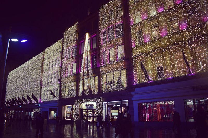 Illuminated building interior