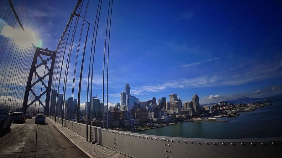 Panoramic view of bridge and cityscape against sky