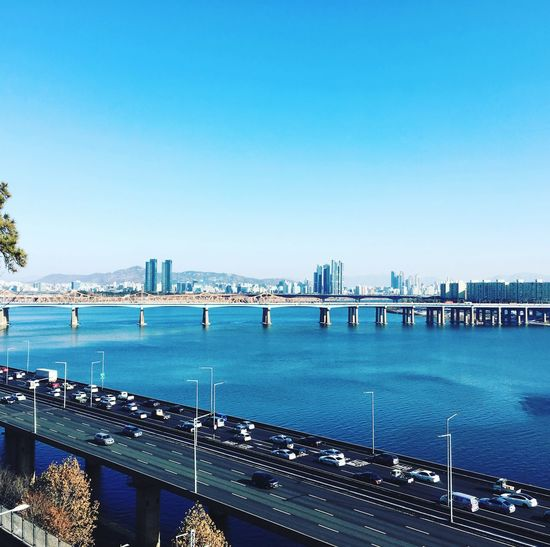 Hanriver Seoul Hannam Water Sky Clear Sky Copy Space Sea Architecture Nature