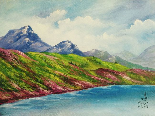 The blue Lagoon,oil on canvas 16_20 , Landscape Mountain Cloud - Sky Beauty In Nature Original Art Tranquility Nature With3XSPUnity Friendship. ♡   Scenics Art, Drawing, Creativity Drawing Oil Painting Fine Art My Art Collection Outdoors My Best Friends ❤ Fredom Tranquil Scene Love♥ Koi. With