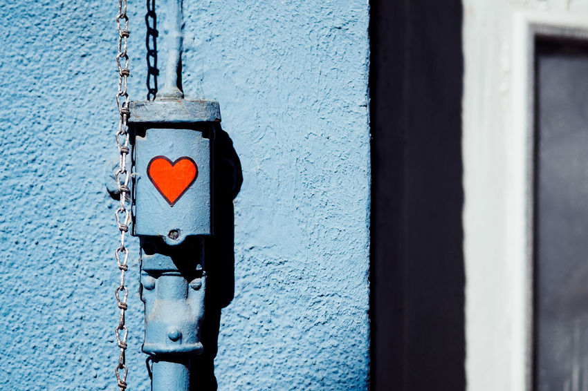 Simply Red Architecture Blue Building Exterior Built Structure Close-up Day Door Emotion Entrance Focus On Foreground Hanging Heart Shape Love Metal No People Outdoors Red Safety Wall - Building Feature Wood - Material The Still Life Photographer - 2018 EyeEm Awards