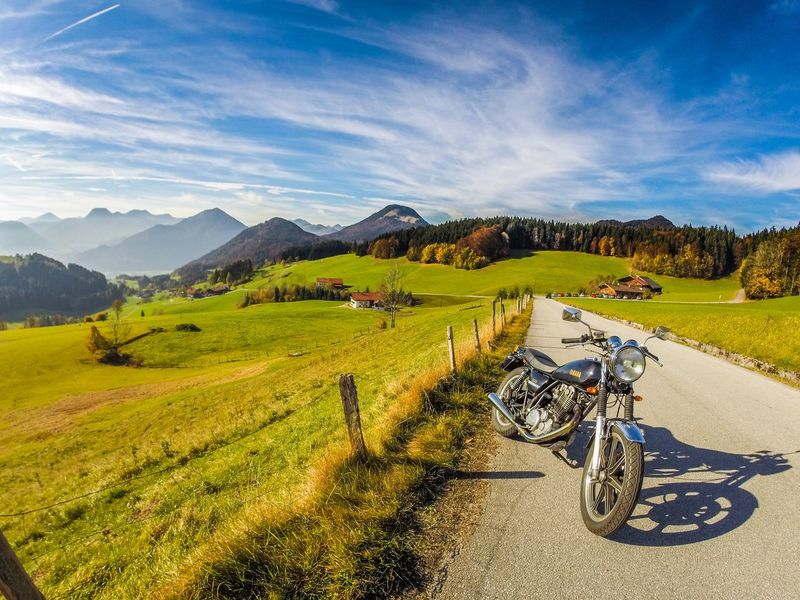 Ride the hills Alps ERL Sr500 Yamaha Bike Tyrol Landscape Field Sky Mountain Nature Tranquil Scene Scenics Beauty In Nature Outdoors Day Grass Mountain Range