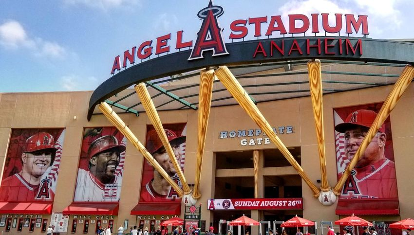 Angels Stadium Baseball Americas Pastime Major League Baseball Mlb Stadium Red Baseball Bat Arts Culture And Entertainment Text Sky Architecture Built Structure Welcome Sign Signboard Information