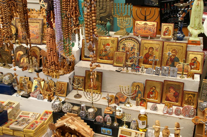 Religious objects for sale at market stall