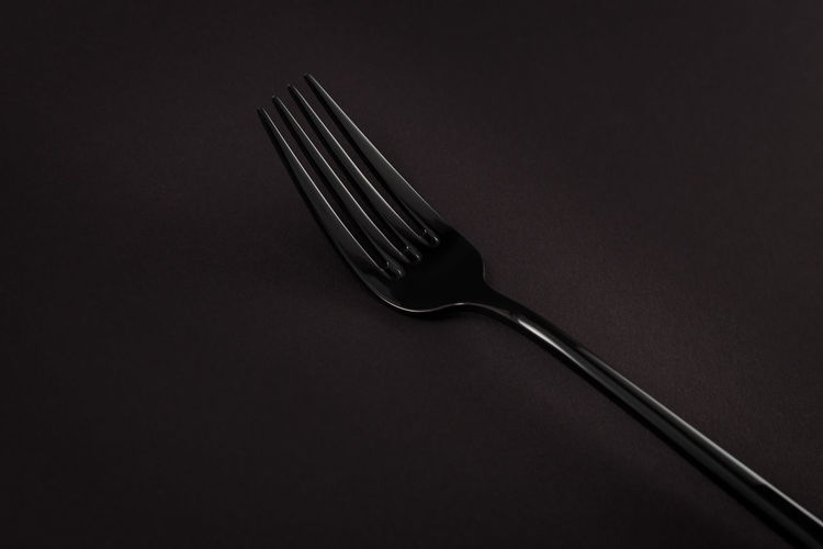 Black Cutlery Fork Black Black Background Black Cutlery Close-up Cutlery Day Food Fork Indoors  No People Stainless Steel  Still Life Studio Shot Table