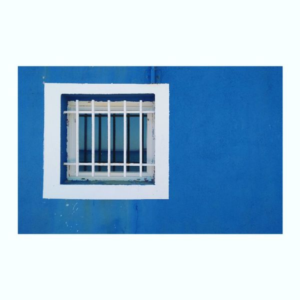 #white #framed #window on a #blue #wall, #Cavalaire, #south of #France, #2017 Minimalism Minimal Minimalobsession Minimalist Photography  Minimaliste Bleu Mur Fenêtre EyeEm Selects Window Architecture Building Exterior Built Structure Rectangle Geometric Shape